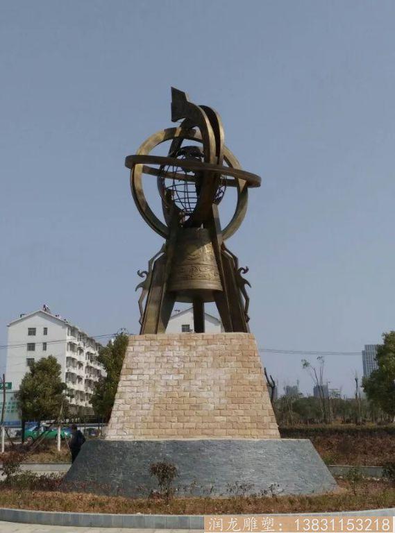 广场大型地震仪铜雕