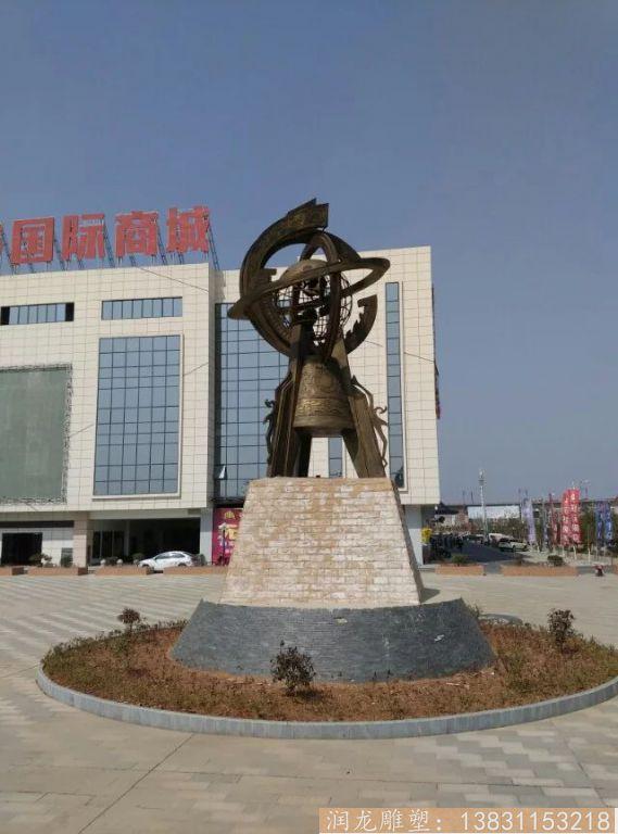 广场大型地震仪铜雕2