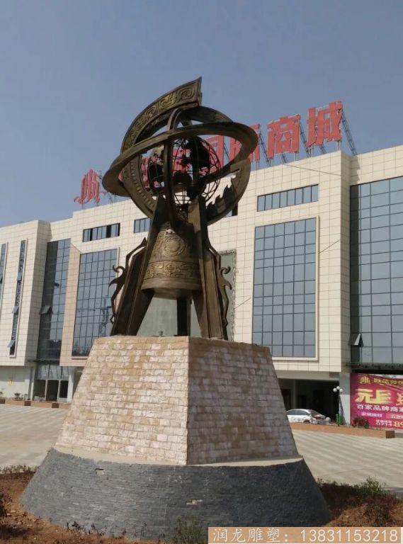 广场大型地震仪铜雕1