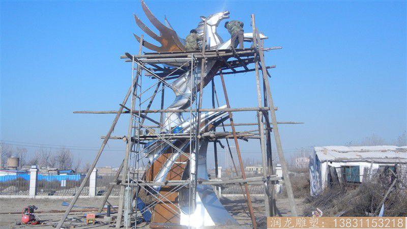 广场飞马雕塑,抽象效果