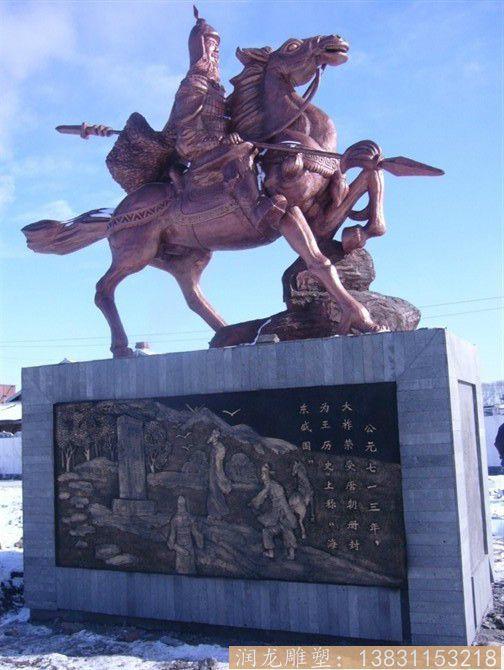 广场骑马战将铜雕塑